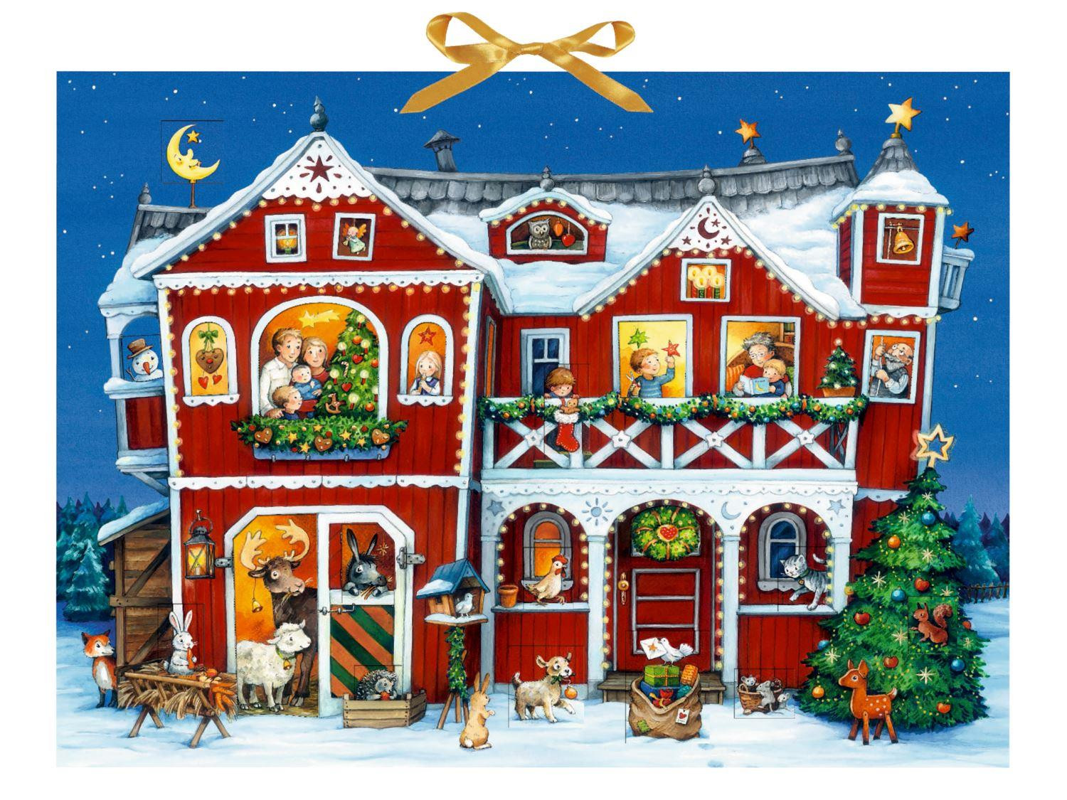 Deluxe Traditional Card Advent Calendar Large - Christmas