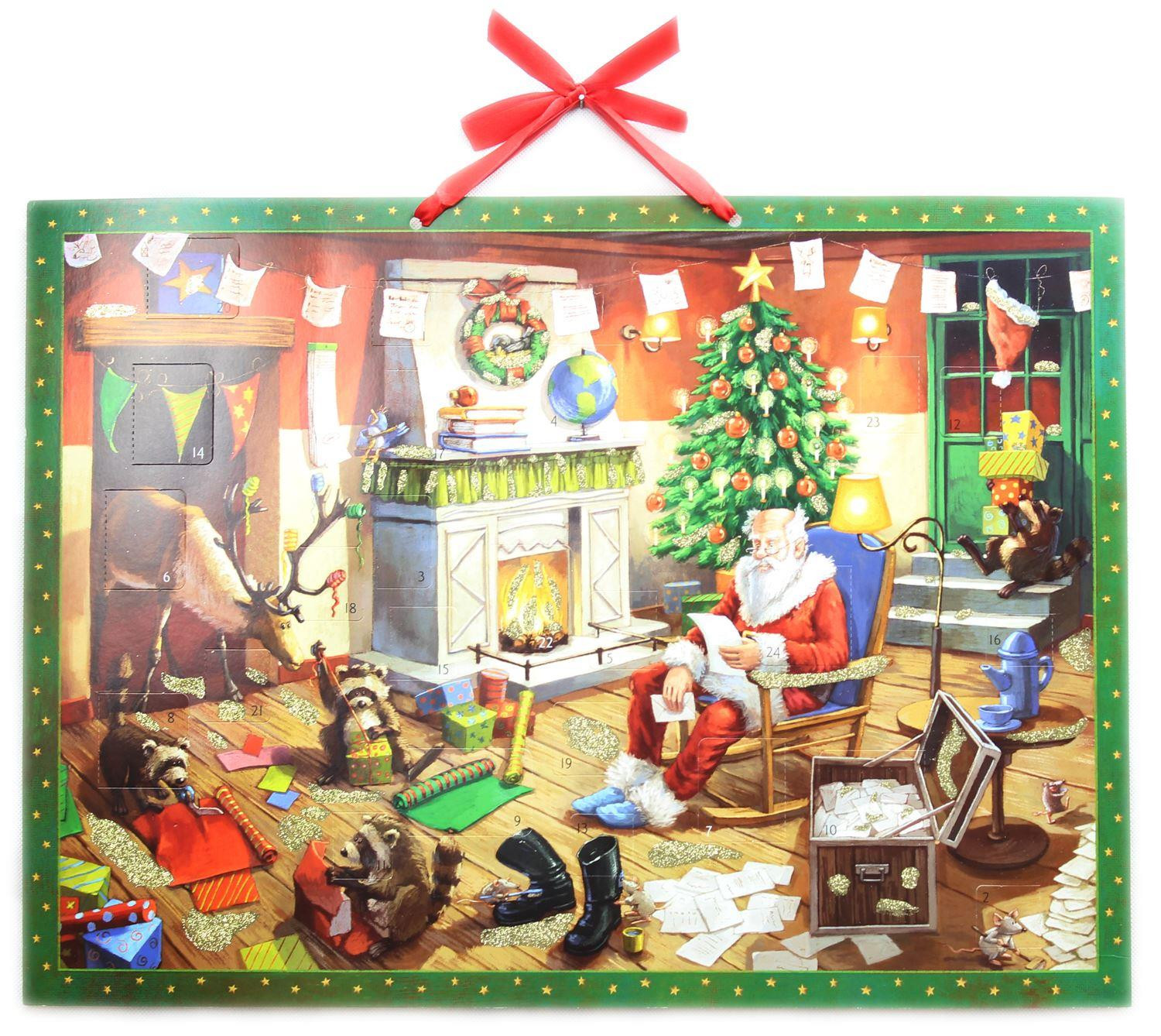 Deluxe Traditional Card Advent Calendar Large - Santas