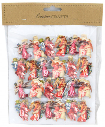 Wooden Advent Calendar Christmas Craft Number Pegs ~ Victorian Angels
