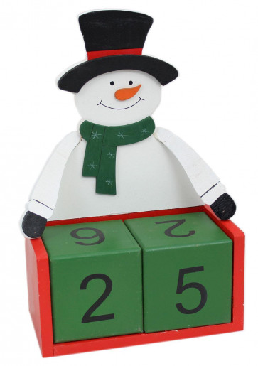 Large Wooden Perpetual Christmas Countdown Advent Calendar Block 26cm x 21cm - Snowman