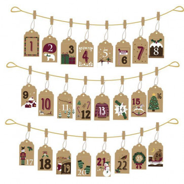 Hanging Christmas Advent Calendar With Envelopes Wooden Pegs Tradional Design