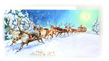 Mini Advent Calendar Christmas Card - Santa Is Coming - Winter Wonderland