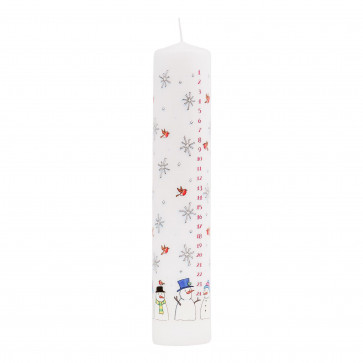 Traditional Countdown To Christmas Advent Dinner Pillar Candle - Snowman And Snowflake Design