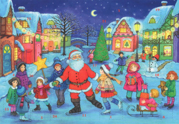 Traditional Santa Father Christmas Ice Skating Card Advent Calendar A4 With Envelope