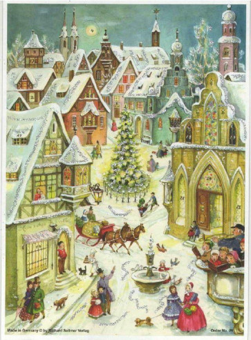 Village In Snow Winter Scene Card Advent Calendar A4 With Envelope