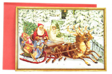 Deluxe Traditional Card Advent Calendar - Kris Kringle Father Christmas Sleigh