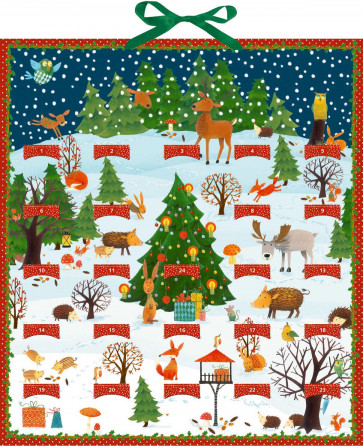 Deluxe Traditional Card Advent Calendar Large - Woodland Animals with 24 Pop-Up Decs