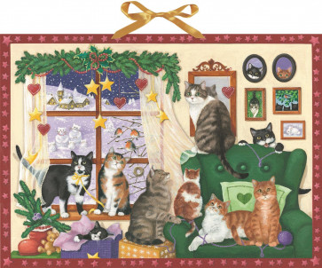 Deluxe Traditional Card Advent Calendar Large - House Cats At Christmas