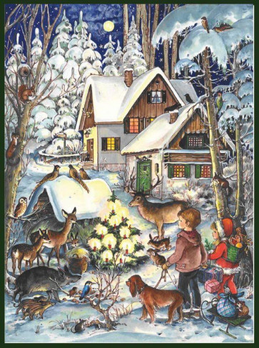 Enchanting Winter Forest Card Advent Calendar A4 With Envelope