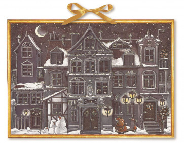 Deluxe Traditional Card Advent Calendar Large - The Christmas House At Night