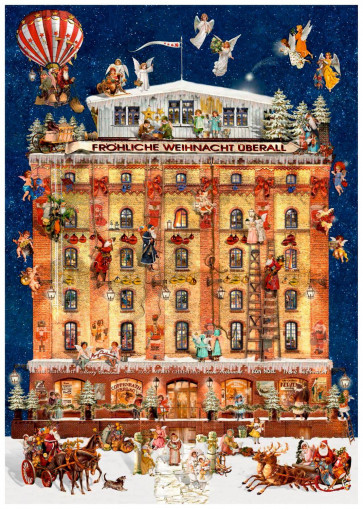 Deluxe Traditional Card Advent Calendar A4 ~ House In A Christmas Dream Toy Factory