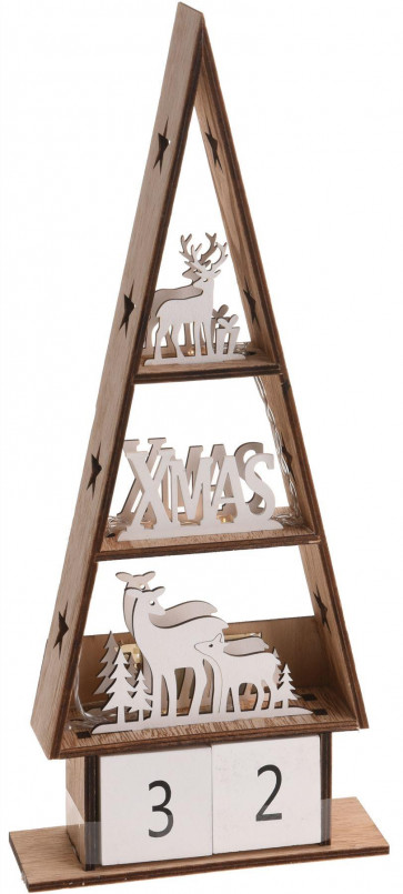 LED Light Up Free Standing Wooden Reindeer Block Christmas Countdown Advent Calendar - Xmas