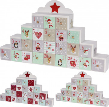 Festive Freestanding Wooden Advent Calendar With Drawers - Design Varies