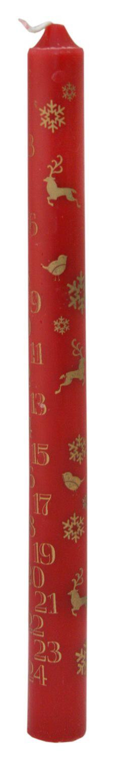 Traditional Christmas Advent Calendar Dinner Candle - Red Advent Candle