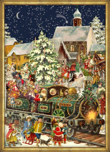 Green Winter Express Locomotive Train Card Advent Calendar With Envelope