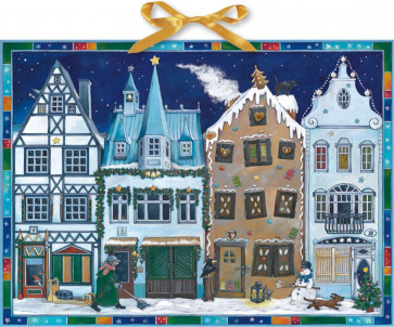 Deluxe Traditional Card Advent Calendar Large - In The Town Houses At Christmas