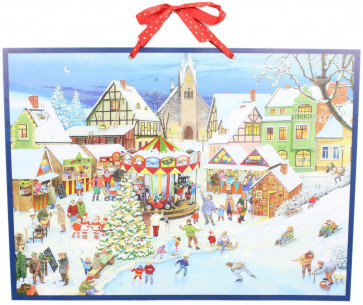 Alison Gardiner Traditional Card Advent Calendar Large With Glitter - The Christmas Market