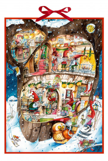 Deluxe Traditional Card Advent Calendar Large - Delightful Christmas Elves Workshop