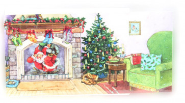 Mini Advent Calendar Christmas Card - Santa Is Coming - Down The Chimney