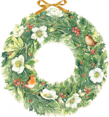 Deluxe Traditional Card Advent Calendar Large - Christmas Wreath With Birds and Berries