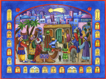 Traditional Bethlehem Nativity Window Card Advent Calendar With Envelope