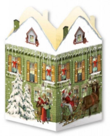 Deluxe Mini Advent Calendar Christmas Card - Nostalgic House Tealight Lantern - Green House