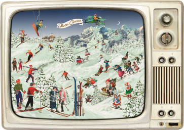 Deluxe Traditional Card Advent Calendar - Skiing On The Retro TV