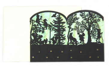 Deluxe Silhouette Mini Advent Calendar Christmas Card Tealight Lantern - Enchanted Forest