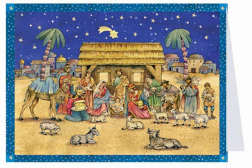 Mini Advent Calendar Christmas Card with Envelope - Traditional Nativity Scene