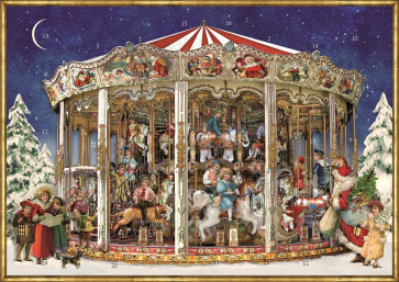 Deluxe Traditional Card Advent Calendar A4 - Victorian Christmas Carousel