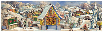 Traditional Snowy Alpine Village Scene Freestanding Christmas Advent Calendar
