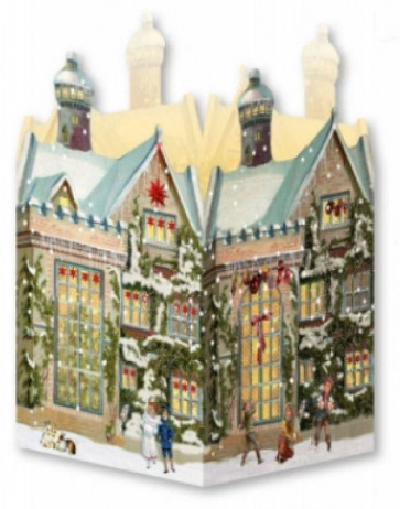 Deluxe Mini Advent Calendar Christmas Card - Nostalgic House Tealight Lantern - Manor House