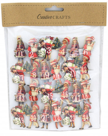 Wooden Advent Calendar Christmas Craft Number Pegs ~ Victorian Children