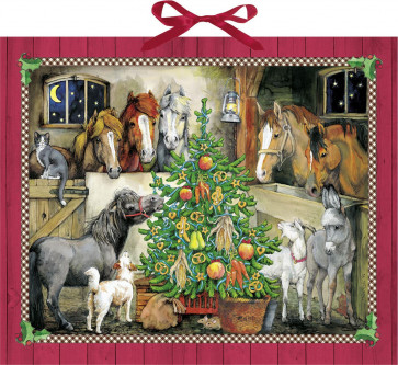 Deluxe Traditional Card Advent Calendar Extra Large - Horse Stables