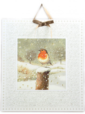 Deluxe Traditional Card Advent Calendar Large - Festive Christmas Robin