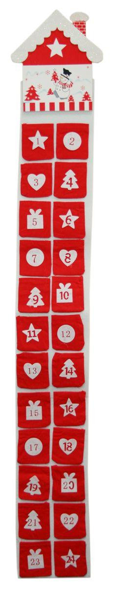 Felt Pouch Christmas Advent Calendar With Pockets - Snowman