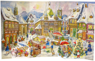 Nostalgic Christmas Village Scene Deluxe Stand Up Card Advent Calendar - Reprint Of 1958