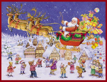 Santa Flying Through The Air In Sleigh Christmas Card Advent Calendar With Envelope