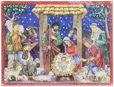 Deluxe Traditional Card Advent Calendar with Envelope - Baby Jesus in Manger Scene