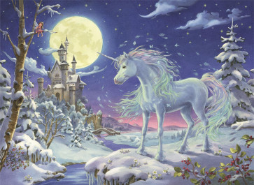Large Deluxe Traditional Card Advent Calendar - Christmas Unicorn Fairytale Castle