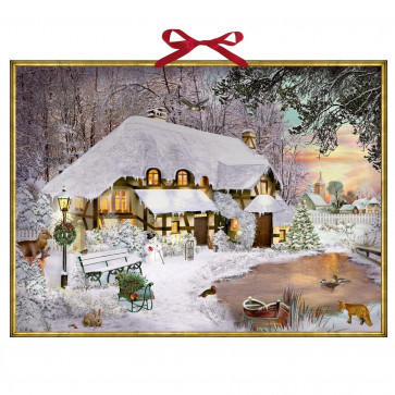 Traditional Christmas Advent Calendar   Winter Cottage In The Woods Advent Calendar   Snowman Picture Advent Calendar