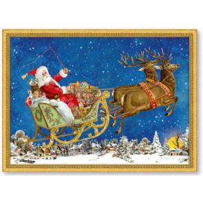 Mini Advent Calendar Christmas Card - Christmas Magic - Santa Sleigh