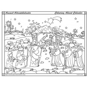 Traditional Bethlehem Nativity Scene Christmas Advent Colouring Calendar With Envelope