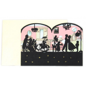 Deluxe Silhouette Mini Advent Calendar Christmas Card Tealight Lantern - Victorian House