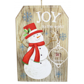 Hanging Wooden Snowman Sign Christmas Countdown Plaque Advent Decoration