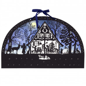 Deluxe Moonlight Silhouette Christmas Advent Calendar   Winter Cottage In The Woods Advent Calendar   Alpine Picture Advent Calendar
