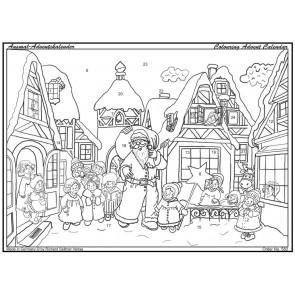 Xmas Santa Town Scene Advent Colouring Calendar ~ Father Christmas Calendar With Envelope