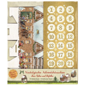 Deluxe Traditional Make Your Own Advent Calendar Boxes - Christmas House Hanging Decorations