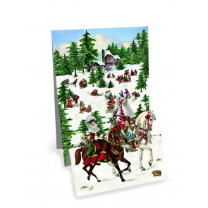 Mini Advent Calendar Christmas Card - Christmas Panorama - Horses