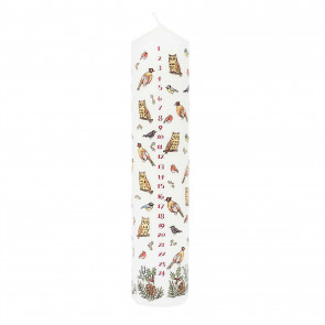 Traditional Countdown To Christmas Advent Candle | Winter Birds Pillar Candle | Christmas Candle Advent Candles